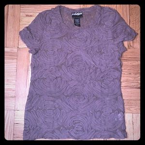 Lord & Taylor Mesh S/S Pintuck Taupe Top Size XS